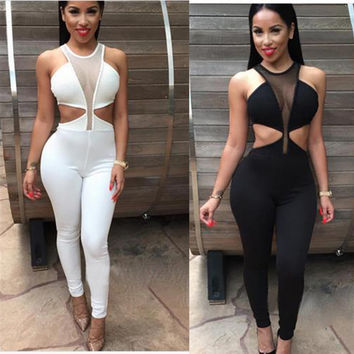 Sexy Low cut rompers womens jumpsuit Lace Splice Club Wear Suit Hollow Out Full bodysuit overalls combinaison femme