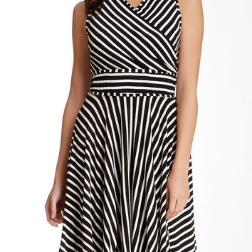 MAX STUDIO Women's Striped Fit & Flare Dress Sz XS BLACK Ivory $110