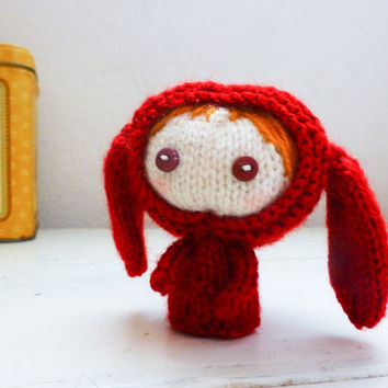 Amigurumi girl, puppy costume, red puppy, strawberry blonde, knit amigurumi, knit doll, button eyes, ready to ship, handmade, hand knit