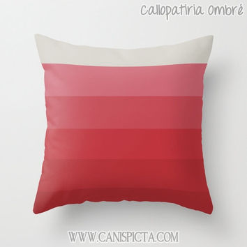 OMBRE Throw Pillow 16x16 Graphic Print Cover Bright Couch Art Home Decor Geometric Red Pink Platinum White Sand Beach Starfish Gift Idea Mod