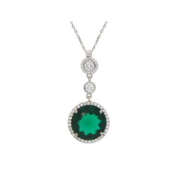 """Fronay Co .925 Sterling Silver Imitiation Green Emerald Pendant Necklace, 16"""""""