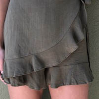 Around The World Skort - Olive