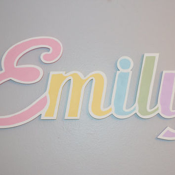 "Extra large Wooden name sign 11 - 12 "" letters Rainbow colors Baby Name Plaque PAINTED nursery name nursery decor wall art above a crib"