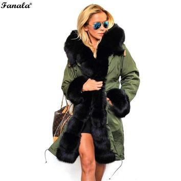Women Faux Fur Collar Coat