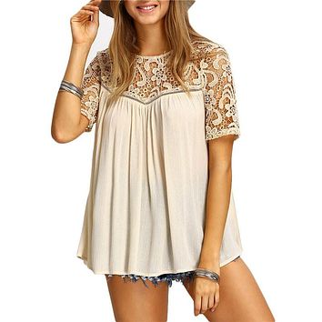 Women White Blouses Shirts Cut Out Crochet Short Sleeve O Neck Hollow Out Patchwork Loose Blouse