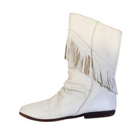 Vintage White Fringe Leather Boot 8.5 Festival Boot Cowgirl Boot White Cowboy Boot Women Boho Boot Western Boot Bohemian Boot White 80s Boot