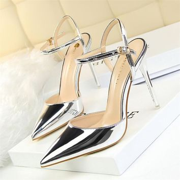 2017 New high heel 10cm sandals Office ladies sexy pumps Point toe fashion women girl party dress shoes zapatos mujer size 34-39