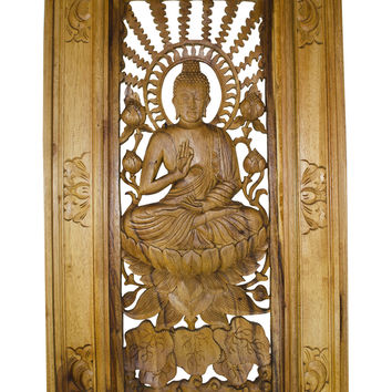 Wooden Relief Carving of Buddha Sitting with a Sun Ray Background