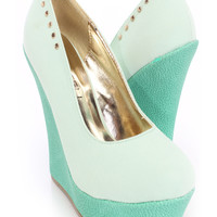 Mint Closed Toe Studded Wedges Faux