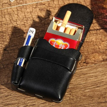 ALAVCHNV Men's Pockets Lighters Cigarettes Two-in-One Patchwork Original Leather Hand-made Leather Creams S010
