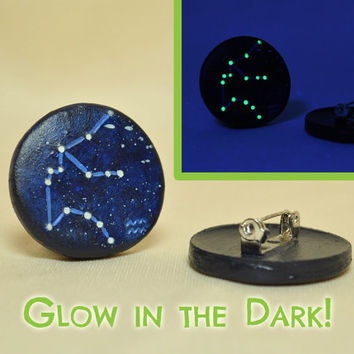Aquarius Pinback Button GLOW in the DARK Constellations Zodiac Horoscope, Astrology, Astronomy, Jan 20 - Feb 18, The Water Bearer, Galaxy