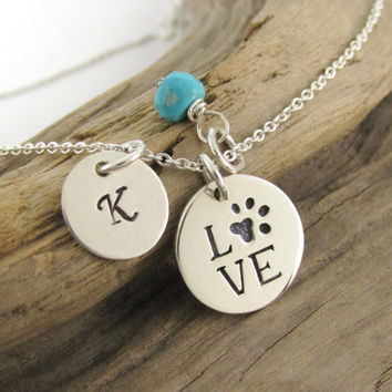 "Sterling Silver Paw Print ""LOVE"" Charm, Birthstone and Initial Necklace, Personalized Dog Paw, Pet Lover Jewelry, Gift for Veterinarian"