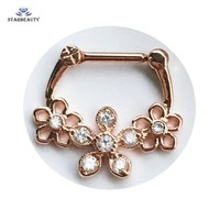 1Pc Hollow Out Flower Septum Clicker Piercing 16G Rose Gold Real Septum Piercing Nose Rings Piercing Septo Nariz Body Jewelry