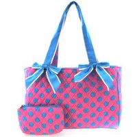 Cute! Quilted Polka Dot Print Baby Girl Diaper Bag Tote Purse (Pink/Blue)