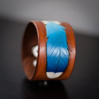 "Bluebird Feather Leather Cuff Bracelet / Wristband ~ Adjustable  Leather Wrist Cuff ~ Fits approximately 6-7"" wrists"