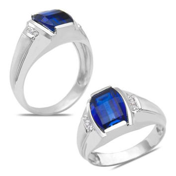 Men's Diamond Accent Ring with Created Sapphire in 10k White Gold