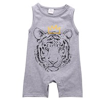Newborn Baby Boys Clothes Tiger Sleeveless Romper Cotton Jumpsuit Outfits