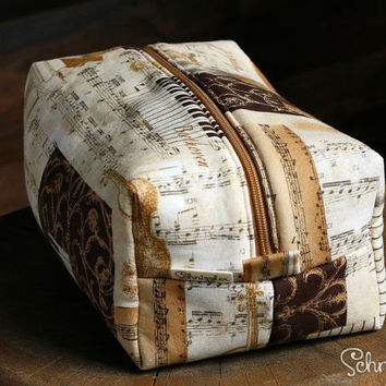 Large Makeup bag / Cosmetic bag / Pencil Case / Accessories Bag / Travel Pouch / Box Bag with Music Print