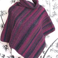 Womens Poncho Crochet Orchid Striped Cowl Neck