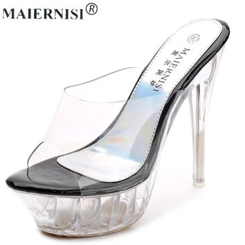 2017 summer Platform sexy Slingback mules clear pvc sandals Shoe for  Women Large Size 43 42 High heel Big Pump Lady female Plus