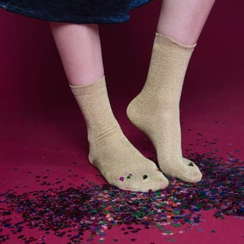 Glitterati Socks | Gold