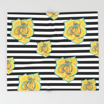 Yellow and Turquoise Rose on Stripes Throw Blanket by drawingsbylam
