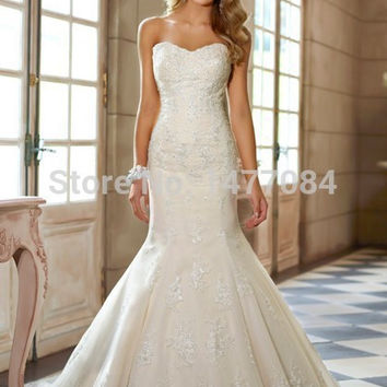 Luxury Sweetheart Open Back Lace Wedding Dresses Mermaid vestidos 2015 Women Bridal Gowns With Train