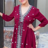 Dream In Burgundy Embroidered Long Sleeve Swing Dress