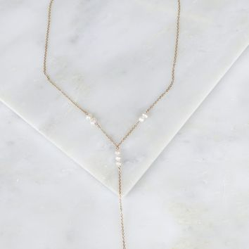 Pearl Drop Bar Necklace Gold