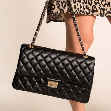 Just For Fun Black Quilted Handbag