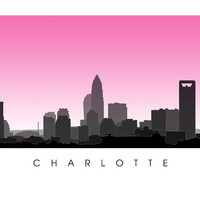 Charlotte City Skyline - North Carolina Poster Print - Queen City, Carolina Panthers, Bank of America, University City, Wells Fargo