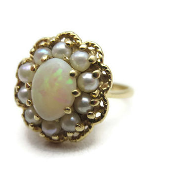 Vintage Opal Ring - 14k Gold October Birthstone Jewelry