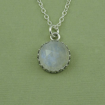 LARGE Moonstone Necklace - sterling silver bezel set moonstone pendant, gemstone necklace