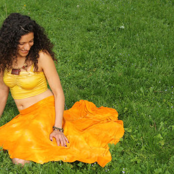 Bamboo pixie skirt asymmetric jersey hand dyed in marigold S, M, L