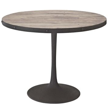 Drive Industrial Modern Round Wood Top Dining Table