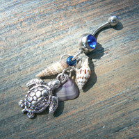 sea turtle  seashell  belly ring sea turtle by gildedingypsy