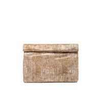 Lunch Clutch in Textured Brown Suede