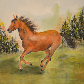 Art, Fine Art-Watercolor Painting of Running Horse-Equine Art