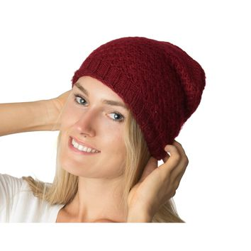 Slouchy Mid-weight Cool Ringlet Patterned Knit Beanie Hat