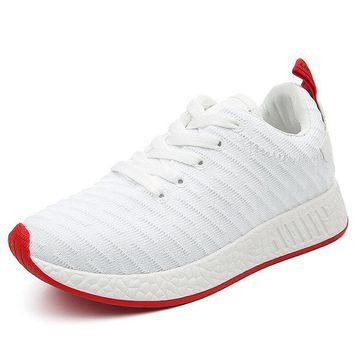 Men Knitted Fabric Line Pattern Casual Sneakers