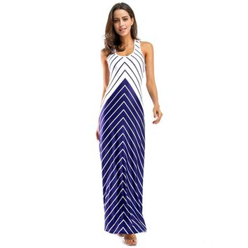 Striped Beach Dress Women 2018 Summer Maxi Dresses Cross Open Back Sleeveless Wave Patchwork Long Dress Floor Length