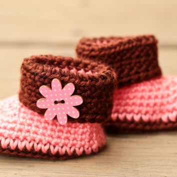 Crochet Baby Booties - Flower Pink and Brown - Coral and Chocolate - Crochet Baby Boots - Baby Shoes - Baby Clothes