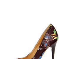 Fly Girl Black Butterfly Print Pumps