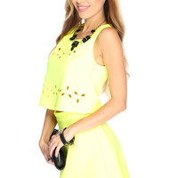 Sexy Neon Yellow Perforated 2 Piece Dress