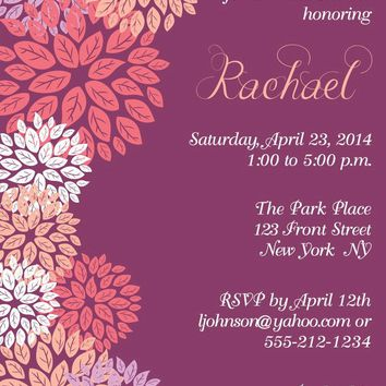 Blooms Bridal Shower Invitations