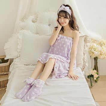 Sexy Women Bathrobe Nightgowns 3 Piece Set Bowknot Strapless Tube Dress Female Robe Bath Towel Sleepwear Sets