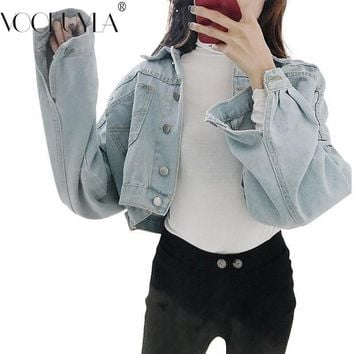 Trendy Voobuyla Spring Loose Cropped Denim Jacket Women Button Pockets Short Jacket Ladies Autumn Solid Color Blue Jeans Jecket Mujer AT_94_13