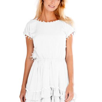 Peixoto Nissi Pompom Dress White