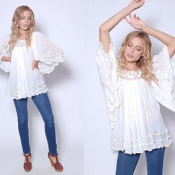 Vintage 70s White GAUZE Top ANGEL Sleeve Tunic CROCHET Cotton Top Boho Tunic Hippie Top