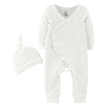 Baby Carter's French Terry Kimono Coverall & Cap Set